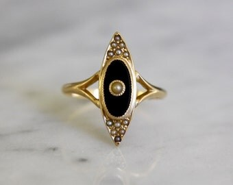 ANTIQUE 14K ONYX Victorian era vintage gold navette seed pearl engagement cocktail ring size 8.25 circa 1880s