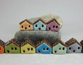 READY TO SHIP...10 (ten) Miniature House Beads in Stoneware