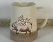 Flying Pig Mug, Unique Coffee cup, Unique Gift, Pig with wings, Stamp, Handmade Tea Cup, Man Mug