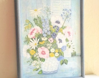 Vintage Wood Framed Original Painting of Blue White Pink and Yellow Flowers in Painted Wooden Frame