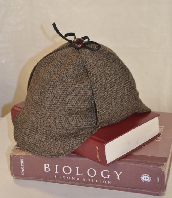 Sherlock Holmes Hat Deerstalker Hat in Tweedy brown black wool