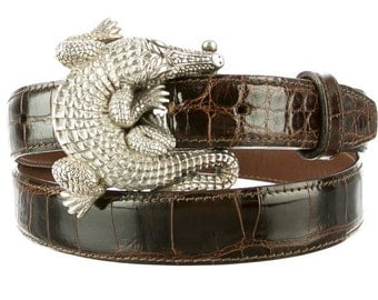 Beautiful Barry Kieselstein Cord Sterling Silver Alligator Buckle on a STUNNING Brown Alligator Belt
