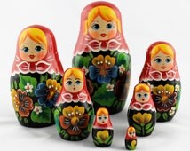 Matryoshka Russian Wooden Matriochka Matrioshka Babushkas Nesting Stacking Dolls with Colored Flowers Design Set 7pc