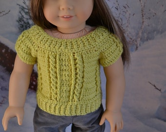 18 inch Doll Clothes - Crocheted Cable Sweater - Lime Green - MADE TO ORDER - fits American Girl