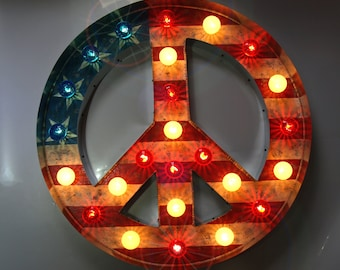 Americana Circus Peace Sign channel Large Huge Movie Vintage Marquee