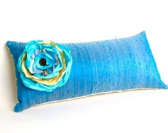 """Blue Silk Big Blossoms Pillow - 10"""" x 18"""" blue silk pillow"""
