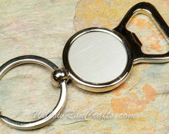 2 Silver Plated Bottle Opener Key Chains-  Bezel Area 25mm Circle (07-59-010)