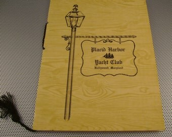 Vintage Placid Harbor Yacht Club Hollywood Maryland Fold out Menu