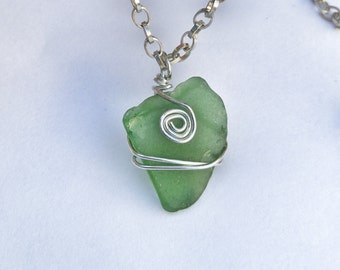 Sea glass necklace - green sea glass pendant - genuine - beach jewelry - wire wrapped - green necklace - silver chain - silver necklace