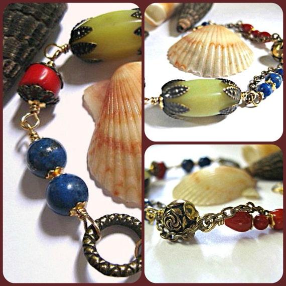 Southwestern gemstone bracelet - coral bracelet - lapis - new jade bracelet - southwestern jewelry - brass jewelry - artisan bracelet - gift