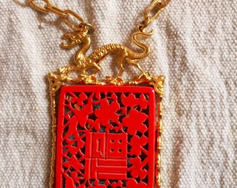 Signed Dragon Necklace - Mode Art necklace - vintage dragon necklace - high-end bijou - Asian - Chinese zodiac - 1960s boho - Author Pepper