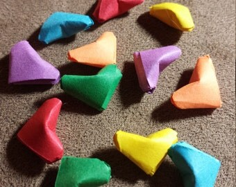 18 Tiny Rainbow Folded Paper Origami Hearts - Lucky Hearts - Kirigami Paper Hearts - Table Decor, Confetti, Party Decor, Gift Enclosure