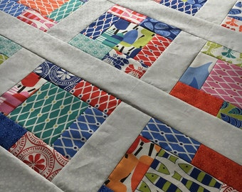 Quilt Top - Unfinished baby sized quilt top - Beach House - by Kate Nelligan for Moda - bright and fun  38 in x 38 in