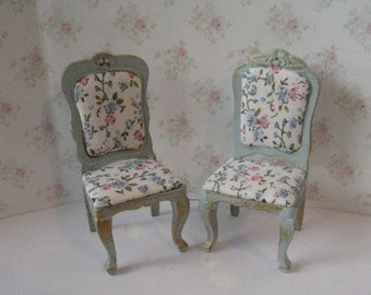 Dollhouse chairs, two chairs,     rose print,  duck egg blue,rose seats.  Twelfth scale dollhouse miniature