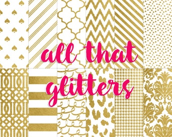 Buy2Get1Free with Code XMASINJULY! All That Glitters Digital Paper Pack (Instant Download)