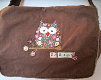 Messenger Bag, Canvas Messenger Bag, Brown Messenger Bag, Book Bag, Diaper Bag, School Bag, Owl Theme,  Appliqued Owl Messenger Bag