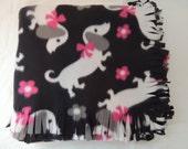 Fleece Blanket -- Valentine Dachshund, Doxie