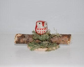 Terrarium or Fairy Garden Decoration - Owl on  Birch Twig