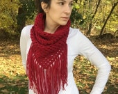 Red cowboy cowl, red crochet cowl, crochet triangle cowl, crochet red scarf, red triangle scarf, red scarf with fringe, cranberry red cowl
