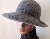 """Ladies Soft Felted Wool Hat / Winter Hat / Wool Cloche / 3"""" Wide Brim Hat / Any Color - Any Size - Handmade - Made to Order"""