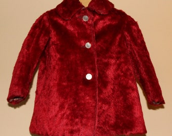 Vintage Toddler Girl RED Faux Fur Coat, 1940's Era
