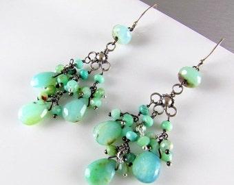 25% Off Summer Sale Peruvian Opal Sterling Silver Chandelier Earrings