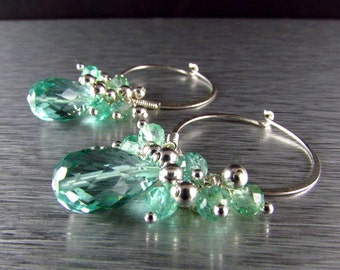 Aqua Quartz With Apatite Cluster Sterling Silver Hoop Earrings