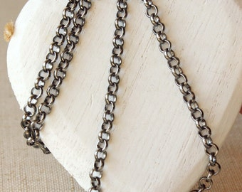 "Large link chain,  5mm round link Gunmetal chain necklace, mens dark silver chain, choose 14"" - 36"", almost black rolo chain, plated SF247"