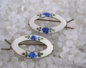 vintage hair barrette , Enamel Guilloche Barrette set of 2 , white oval, blue flowers, rare to find pairs