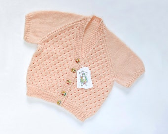 Peach Sorbet Cardigan. Hand Knit Cardigan. Hand Knit Sweater. Hand Knit Childrenswear.