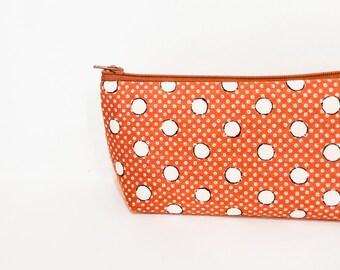 Pencil Case, Zipper Pouch, Fabric Pouch, Medium Pouch, Pouch, Cosmetic Bag, Toiletry Bag, Zipper Case, Polka Dot Pouch, Dot Zipper Pouch
