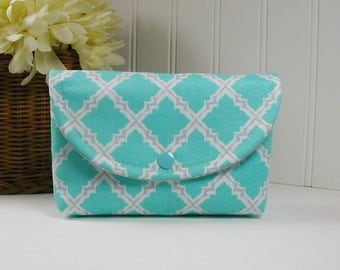 Snap Pouch, Large Snap Pouch, Cosmetic Pouch ... Lattice in Aqua