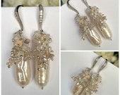 CUPID SALE xOx Wedding Biwa Pearl Earrings Wire Wrap Keishi Ethiopian Opal Cluster Earring Sterling Silver or Gold Vermeil Boho Beach Bride