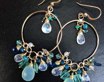 SUMMER SALE Aqua Gold Hoop Long Chandelier Earrings 14k Gold Filled Wire Wrap Teal Aqua Green Blue Multicolor Gemstone Handmade Long Earring