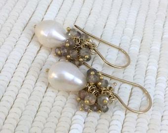 35% FLASH SALE Sapphire Cluster Earrings Pearl Gemstone Cluster Earrings 14kt Gold Fill  September Birthstone Sapphire Pearl Wedding Earring