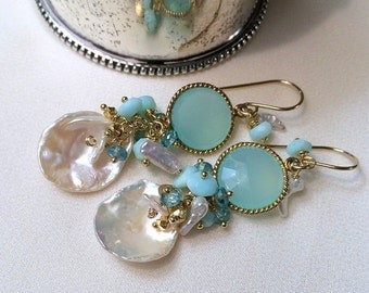 25% SALE Aqua Mint Keishi Pearl Cluster Earrings Multicolor Gemstone  Wire Wrap Peruvian Opals, Gold Coins Keishi Pearls Spring Fashion Mint