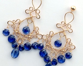 Blue Chandelier Earrings Rose Gold Earrings Kyanite Blue Sapphire September Birthstone Luxury Gemstone Chandelier Earrings Handmade Filigree