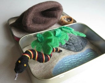 Snake play set in Altoid tin miniature felt plush stuffed animal with food and snuggle bag