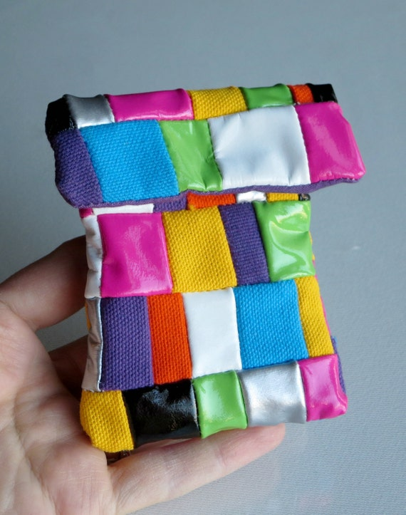 Change Purse in Patchwork -  Retro wet look and Canvas bag