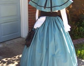 Dicken's Victorian Outfit Long drawstring Skirt and cape Teal cotton small print with black Sash, matching braid one size fit all