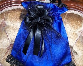 Civil War Hat and Reticule,Victorian Ladies Royal Blue Satin teardrop Hat with Black Satin ruffle and Satin Rose costume