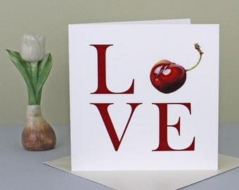 LOVE Valentine's Card Anniversary Card Romance Card with  Red Cherry