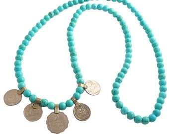 Handcrafted Turquoise & Afghani Kuchi Coin Necklace andyANDmolly