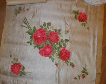 Antique Silk Panel with Hand Painted  Roses