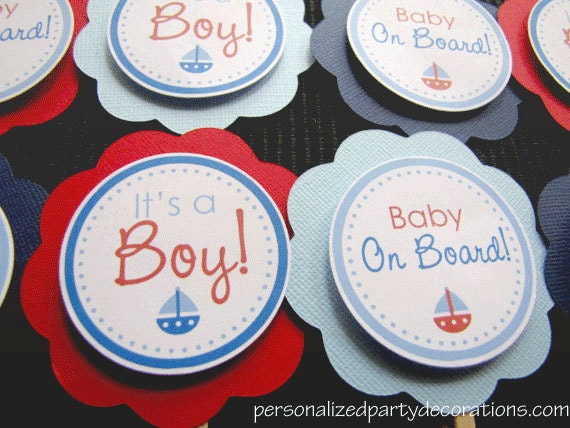 Nautical Baby Shower, Cupcake Toppers, Baby Shower, Choose Colors