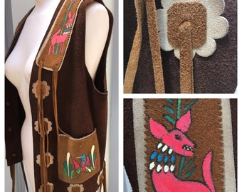 Fantastic El Toro Bravo Handpainted 1970's leather vest