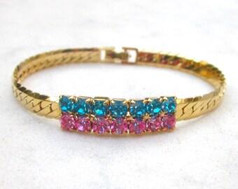 Hand painted vintage rhinestone bracelet, gold plated metal bracelet, blue and pink crystals friendship bracelet, up-cycled tennis bracelet