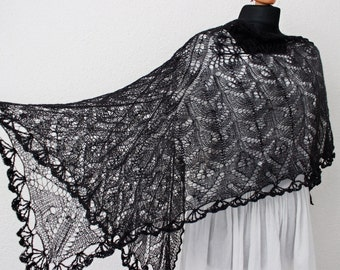 wedding shawl, black wedding shawl, knit lace wedding shawl,victorian black lace,  wedding wrap