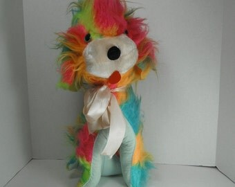 ON HOLD Vintage StuffedCarnival Prize Faux Fur Dog Psychedelic Monster Fur 1960s Kitsch Room Decor Acid Colors Display Photo Prop Neon Puppy