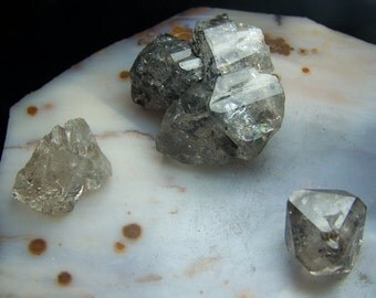 3 Herkimer Diamond Crystals New york - genuine NY USA Quartz - raw rough chunk medium - clear to smoky carbon included 1.5 inch ikk9